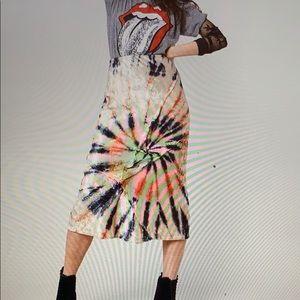 Free People Tie Die  Velvet Swirl Midi Skirt